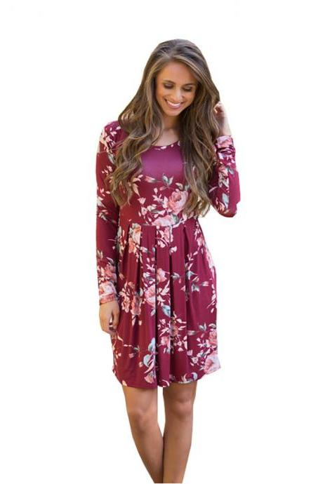 Women Spring Autumn Casual Dress Vintage Long Sleeve Floral Print Mini Beach Dress burgundy