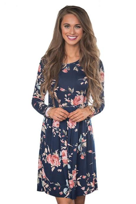 Women Spring Autumn Casual Dress Vintage Long Sleeve Floral Print Mini Beach Dress navy blue