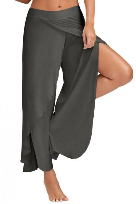 1 Piece Women High Split Trousers Female Loose Yoga Sport Wide Leg Pants dark gray