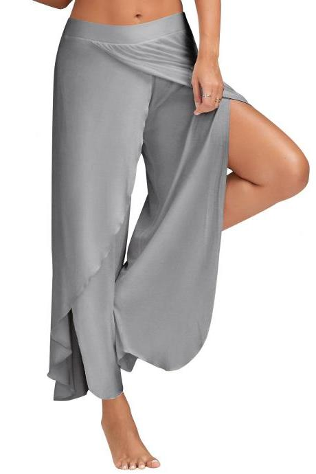 1 Piece Women High Split Trousers Female Loose Yoga Sport Wide Leg Pants gray