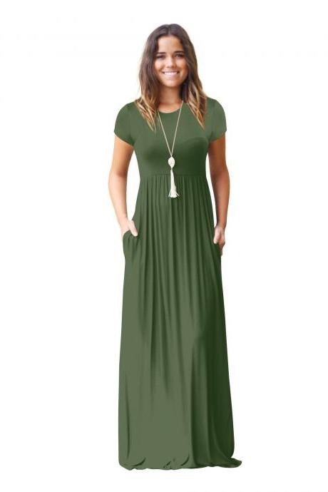 Women Maxi Long Dress Short Sleeve O Neck Solid Slim Pockets Spring Casual Party Dress army green