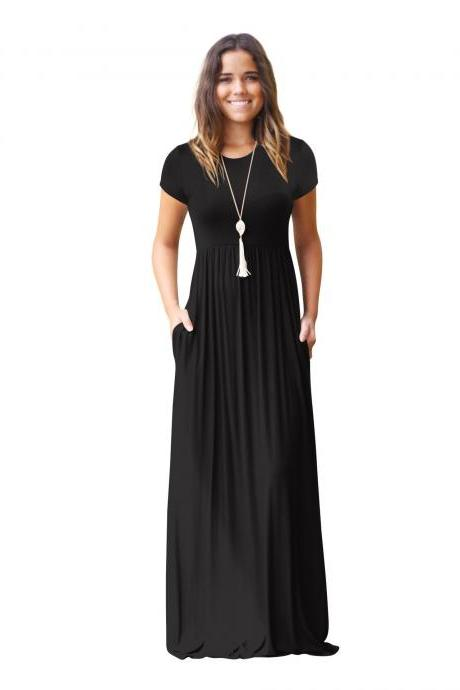 Women Maxi Long Dress Short Sleeve O Neck Solid Slim Pockets Spring Casual Party Dress black