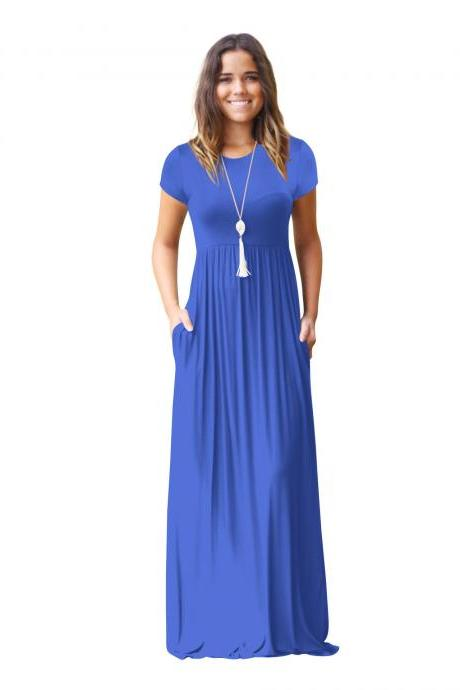 Women Maxi Long Dress Short Sleeve O Neck Solid Slim Pockets Spring Casual Party Dress blue