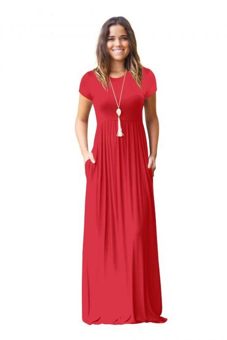 Red O-Neck Casual Maxi Dress with Short Sleeves and Side Pockets