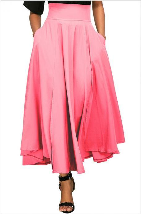 Womens Solid Long Maxi Skirt High Waist Pockets Pleated Swing Asymmetrical A Line Skirt pink