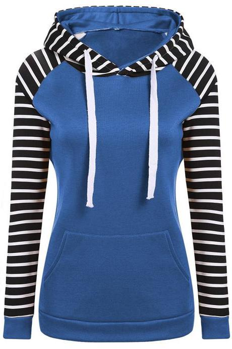 Spring Autumn Striped Fleece Hoodies Women Long Sleeve Pullover Streetwear Hooded Sweatshirt blue