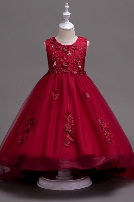 Pretty Lace High Low Flower Girl Dress Applique Wedding Holy Communion Party Gown Children Clothes burgundy