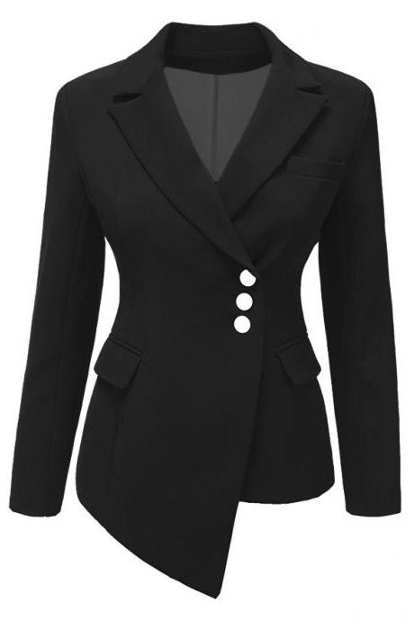 Fashion Slim Asymmetrical Women Suit Coat Buttons Long Sleeve Solid Lady Short Casual Jacket black