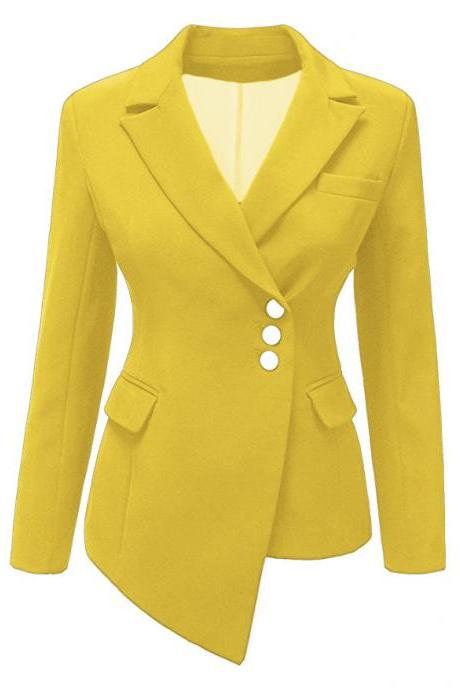 Fashion Slim Asymmetrical Women Suit Coat Buttons Long Sleeve Solid Lady Short Casual Jacket yellow