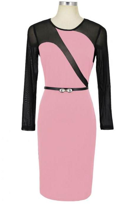 Sexy Mesh Patchwork Pencil Dress O Neck Long Sleeve Belted Bodycon Party Dress pink