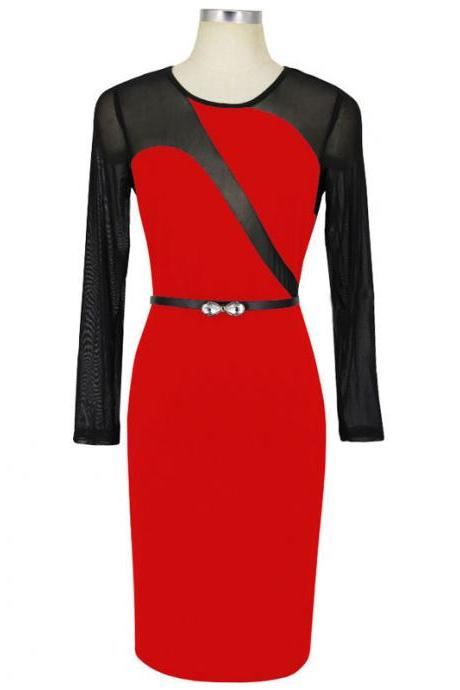 Sexy Mesh Patchwork Pencil Dress O Neck Long Sleeve Belted Bodycon Party Dress red