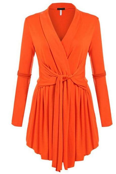 Women V-Neck Tunic Soft Tops Asymmetrical Hem Long Sleeve Casual Shirt Solid Female Blouse orange