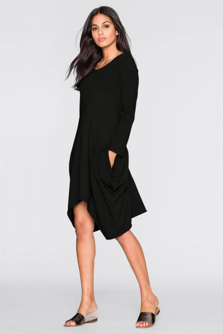 Black Casual O-Neck Asymmetrical Hem Dress with Long Sleeves and Pockets