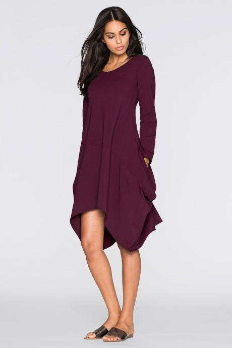 Women O-Neck Long Tunic Tops Asymmetrical Hem Long Sleeve Pockets Casual Shirt Solid Blouse plum