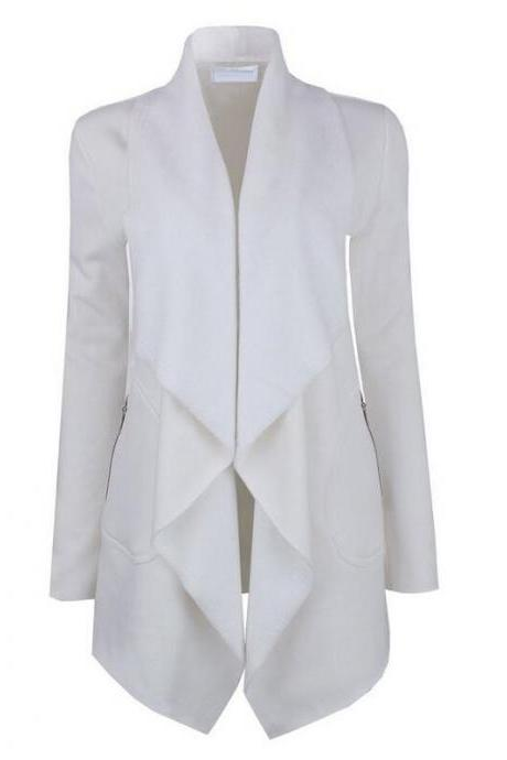 Spring Autumn Turn-down Collar Coat Women Long Sleeve Cardigan Solid Asymmetrical Jacket Outwear off white