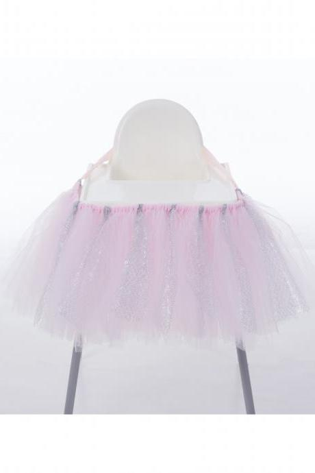 Tutu Tulle Table Skirts High Chair Decor Baby Shower Decorations for Boys Girls Party Set Birthday Party Supplies pink+silver