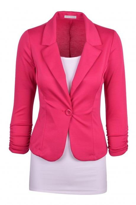 Fashion Spring Women Slim Blazer Coat Long Sleeve One Button Casual Suit Jacket Ladies Work Wear hot pink