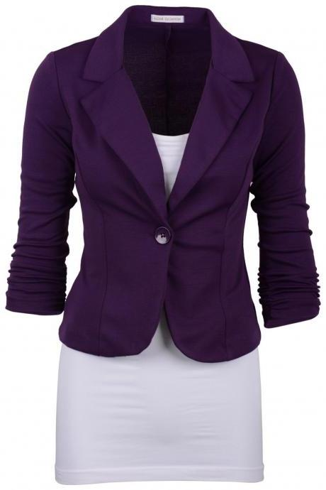 Fashion Spring Women Slim Blazer Coat Long Sleeve One Button Casual Suit Jacket Ladies Work Wear purple