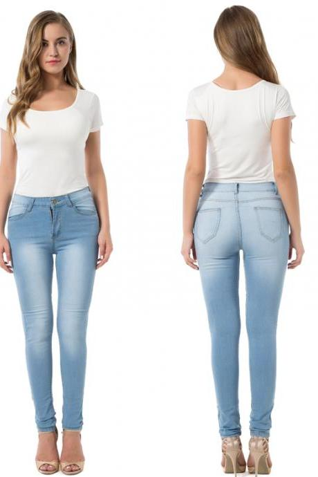 Women High Waist Denim Jeans Vintage Slim High Quality Casual Skinny Pencil Pants light blue