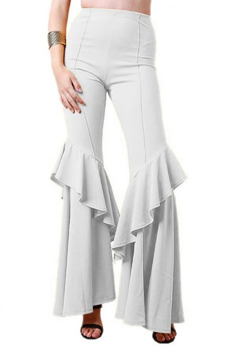 Fashion Women Flare Pants Stretch High Waist Solid Ruffles Wide Leg Long Trousers off white