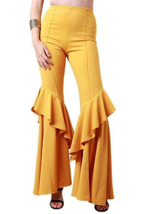 Fashion Women Flare Pants Stretch High Waist Solid Ruffles Wide Leg Long Trousers yellow