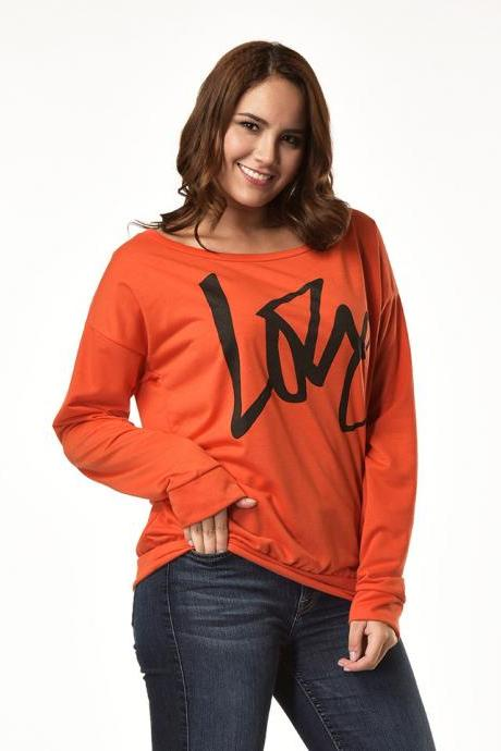 Women Hoodies Sweatshirt Spring Girls LOVE Letter Printed Long Sleeve Sexy Off The Shoulder Pullover orange