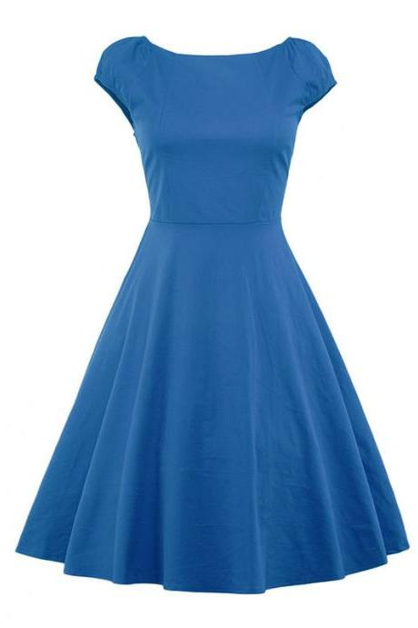 Vintage Hepburn Dress Cap Sleeve Women Summer Cotton Rockabilly Casual Holiday Party Dress blue