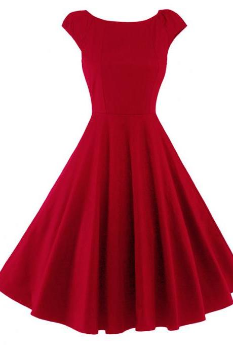 Vintage Hepburn Dress Cap Sleeve Women Summer Cotton Rockabilly Casual Holiday Party Dress red