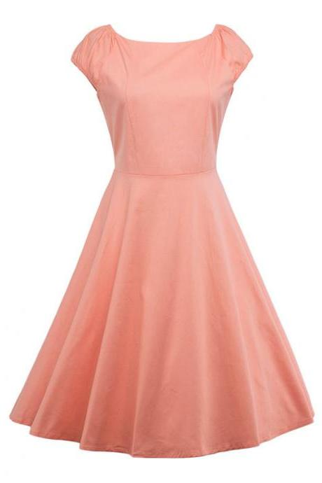 Vintage Hepburn Dress Cap Sleeve Women Summer Cotton Rockabilly Casual Holiday Party Dress salmon