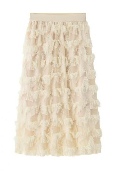 New Feathers Tassels Skirt Elastic High Waist A-line Women Tutu Midi Skirt apricot