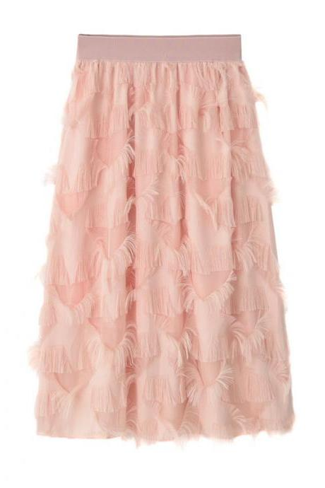 New Feathers Tassels Skirt Elastic High Waist A-line Women Tutu Midi Skirt pink