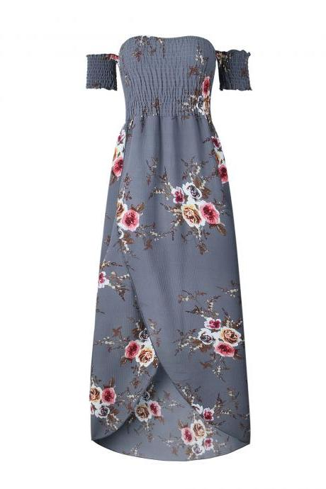 Boho Beach Dress Summer Women Off Shoulder High Low Chiffon Floral Print Maxi SunDress gray