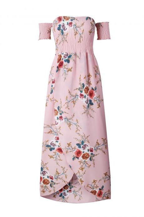 Boho Beach Dress Summer Women Off Shoulder High Low Chiffon Floral Print Maxi SunDress pink