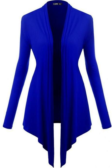 Women Cardigan Spring Long Sleeve Irregular Ladies Coat Slim Jacket Outerw royal blue