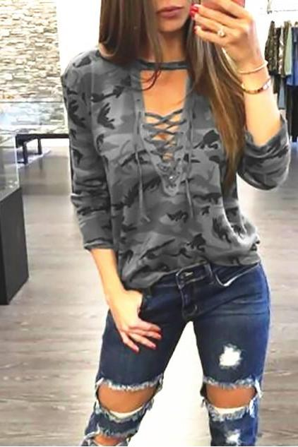 Women Camouflage T-Shirt Lace up Bandage V Neck Female Long Sleeve Lady Sexy Top Casual Tee gray