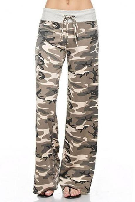 Women Long Wide-Leg Pants Drawstring Mid Waist Polka Dot/Camouflage Casual Straight Palazzo Trousers coffee camouflage
