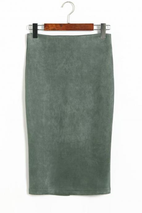Spring Faux Suede Pencil Skirt High Waist Split Stretchy Bodycon Midi Skirt green