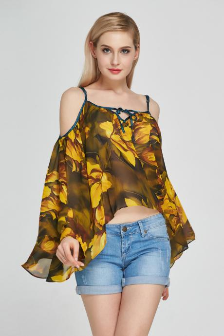 Sexy Floral Printed Chiffon Blouses Off Shoulder Casual Women Shirt Flare Sleeves Tops yellow