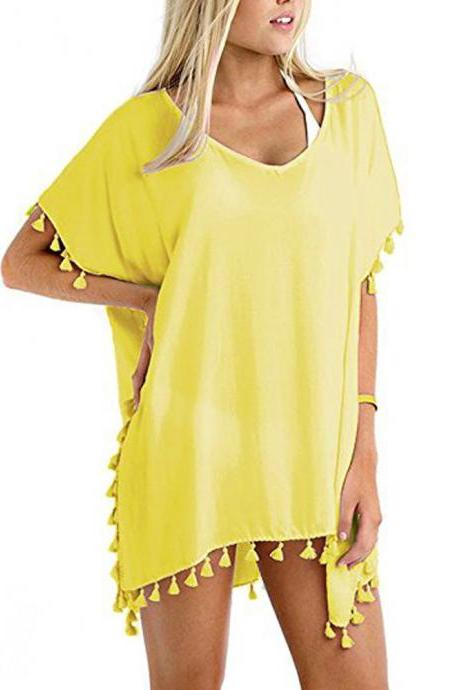 Women Tassels Bikini Cover Up Irregular See-Through Tunic Swimwear Summer Beach Dress yellow