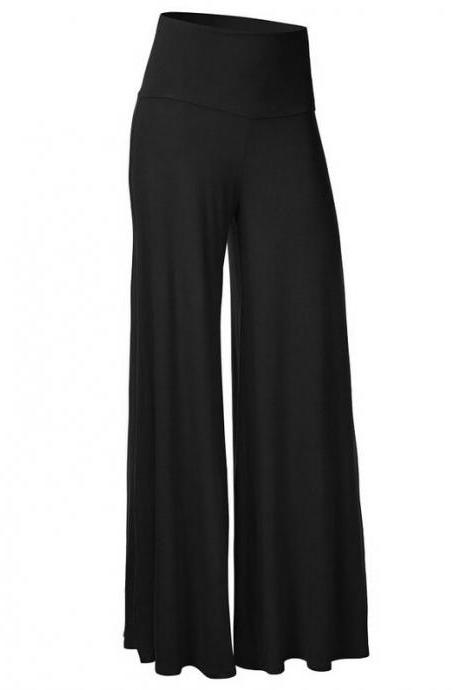 Women Slim Flare Pants High Waist Long Trousers Casual Office Work Wide Leg Trousers black