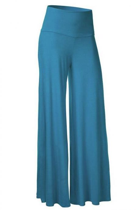 Women Slim Flare Pants High Waist Long Trousers Casual Office Work Wide Leg Trousers lake blue