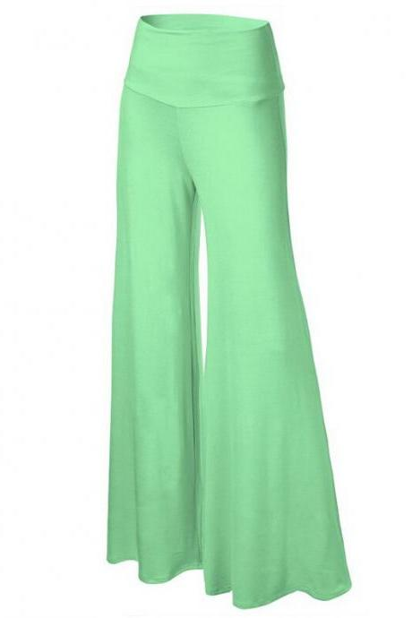 Women Slim Flare Pants High Waist Long Trousers Casual Office Work Wide Leg Trousers light green