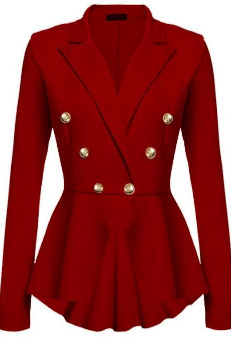 Women Slim Suit Coat Spring Autumn Metal Button Long Sleeve Double-Breasted Lady Blazer Work Wear red