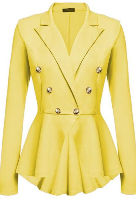Women Slim Suit Coat Spring Autumn Metal Button Long Sleeve Double-Breasted Lady Blazer Work Wear yellow