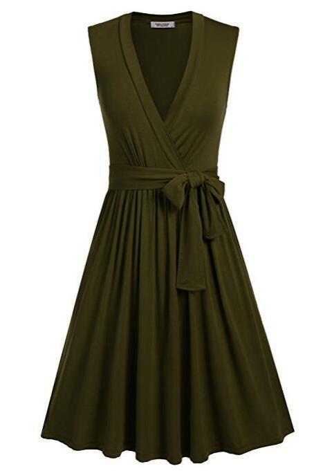 Women Summer Casual Dress V Neck Sleeveless Belted Swing Work Office Party Dress army green
