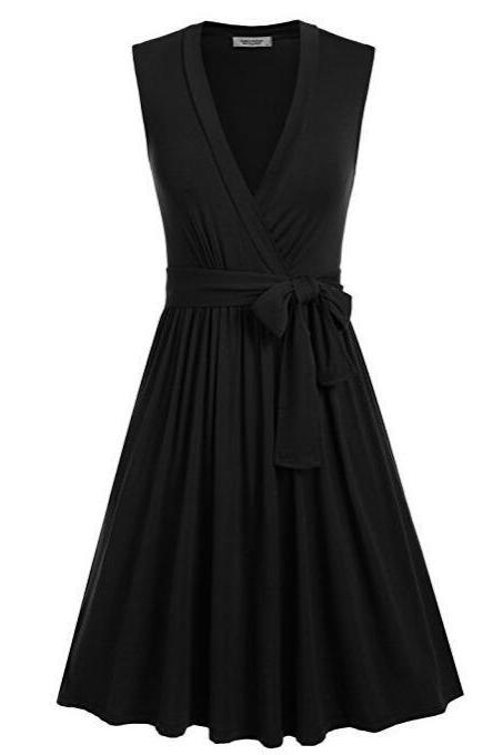Sleeveless V Neckline Belted Wrap Casual Black Dress