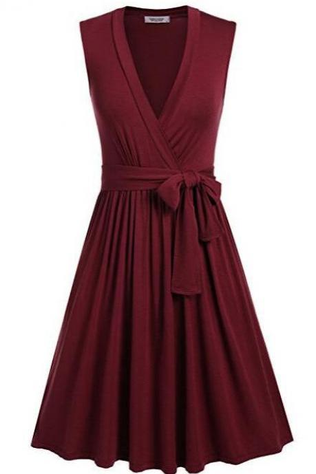 Women Summer Casual Dress V Neck Sleeveless Belted Swing Work Office Party Dress burgundy