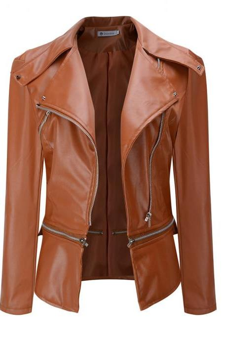 New Fashion Women Faux Leather Jackets Long Sleeve Lady Slim Short Bomber Coat Motorcycle Outerwear khaki