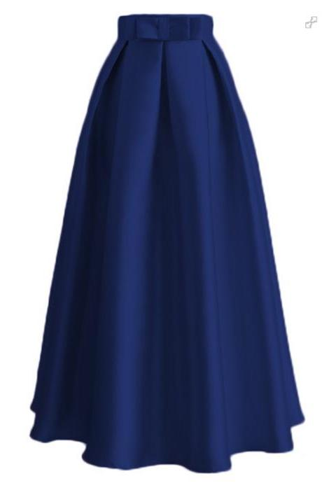 Plain Muslim Women Casual Maxi Pleated Skirts High Waist Ladies A Line Long Skater Skirt dark blue