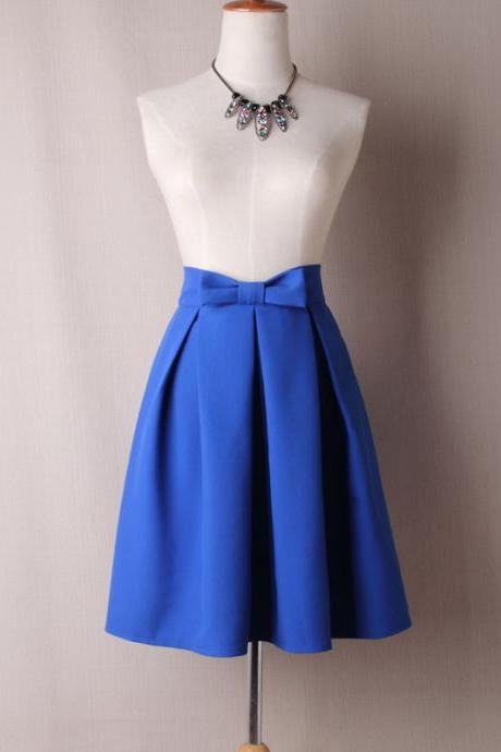 Cobalt Blue Bow Accent High-Waisted Ruffled Knee-Length Skater Skirt